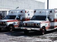 15. 1985 Ford Wheeled Coach Ambulances 62 a 63, podobné byly použity při natáčení Backdraftu